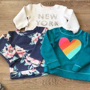 Toddler girls sweatshirt bundle, 2-3T